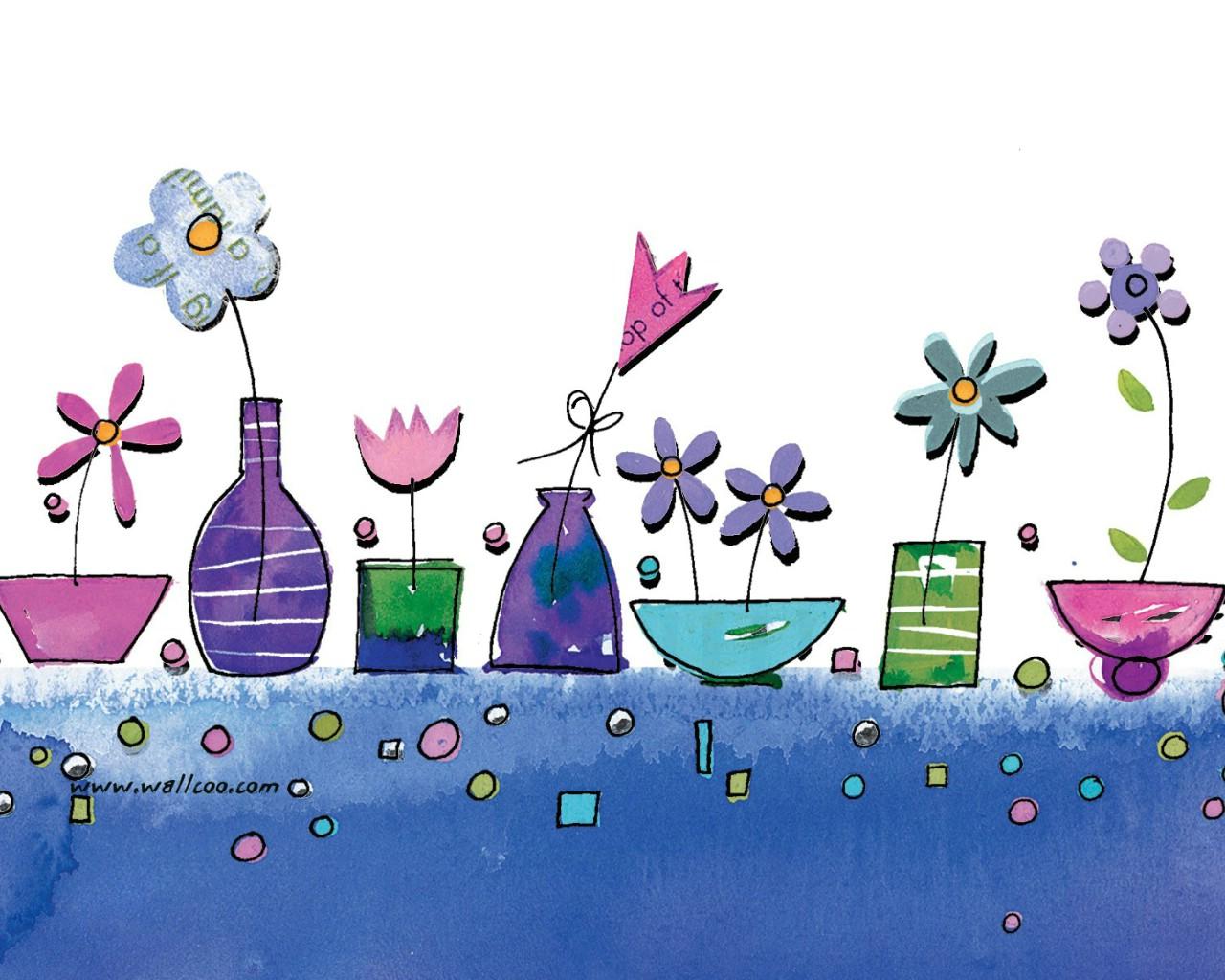 壁纸1280×1024花卉图案设计 可爱花卉插画壁纸壁纸 艺术与抽象花卉壁纸壁纸图片花卉壁纸花卉图片素材桌面壁纸