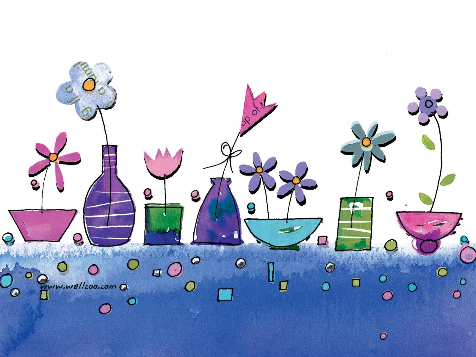壁纸1600×1200花卉图案设计 可爱花卉插画壁纸壁纸 艺术与抽象花卉壁纸壁纸图片花卉壁纸花卉图片素材桌面壁纸