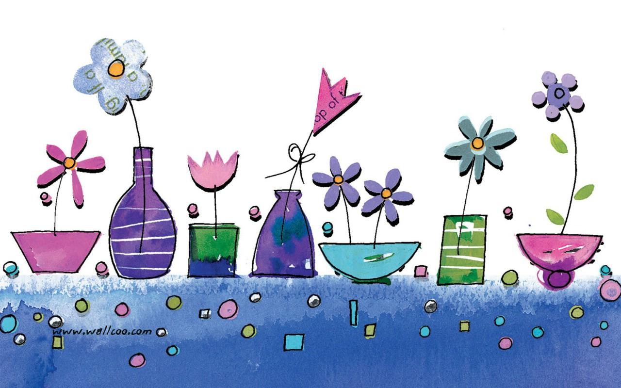 壁纸1280×800花卉图案设计 可爱花卉插画壁纸壁纸 艺术与抽象花卉壁纸壁纸图片花卉壁纸花卉图片素材桌面壁纸