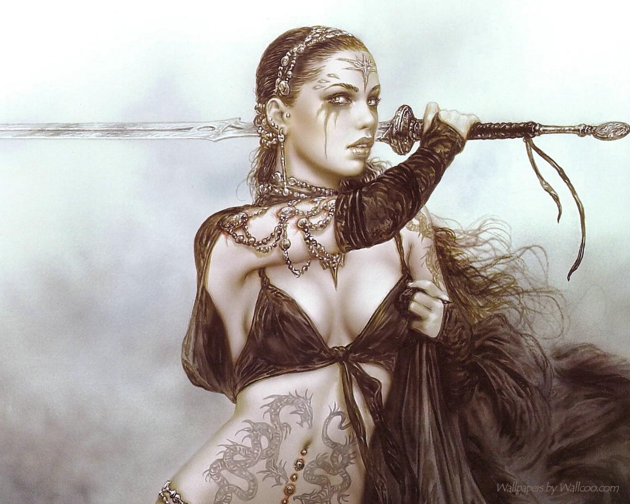 野性绅士美女壁纸插画w漫画纹身图片
