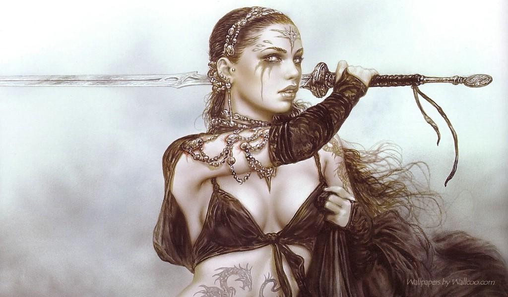 纹身野性美女插画壁纸