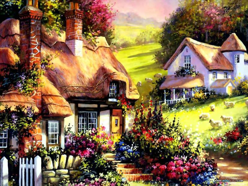 壁纸800×600手绘浪漫小屋壁纸