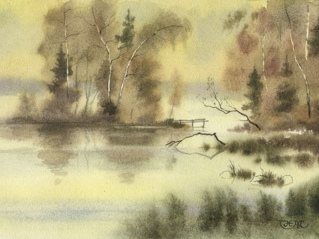 冷色调风景水彩画图片下载