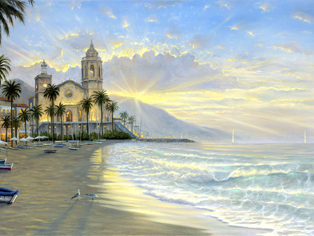 海滩风景油画壁纸壁纸