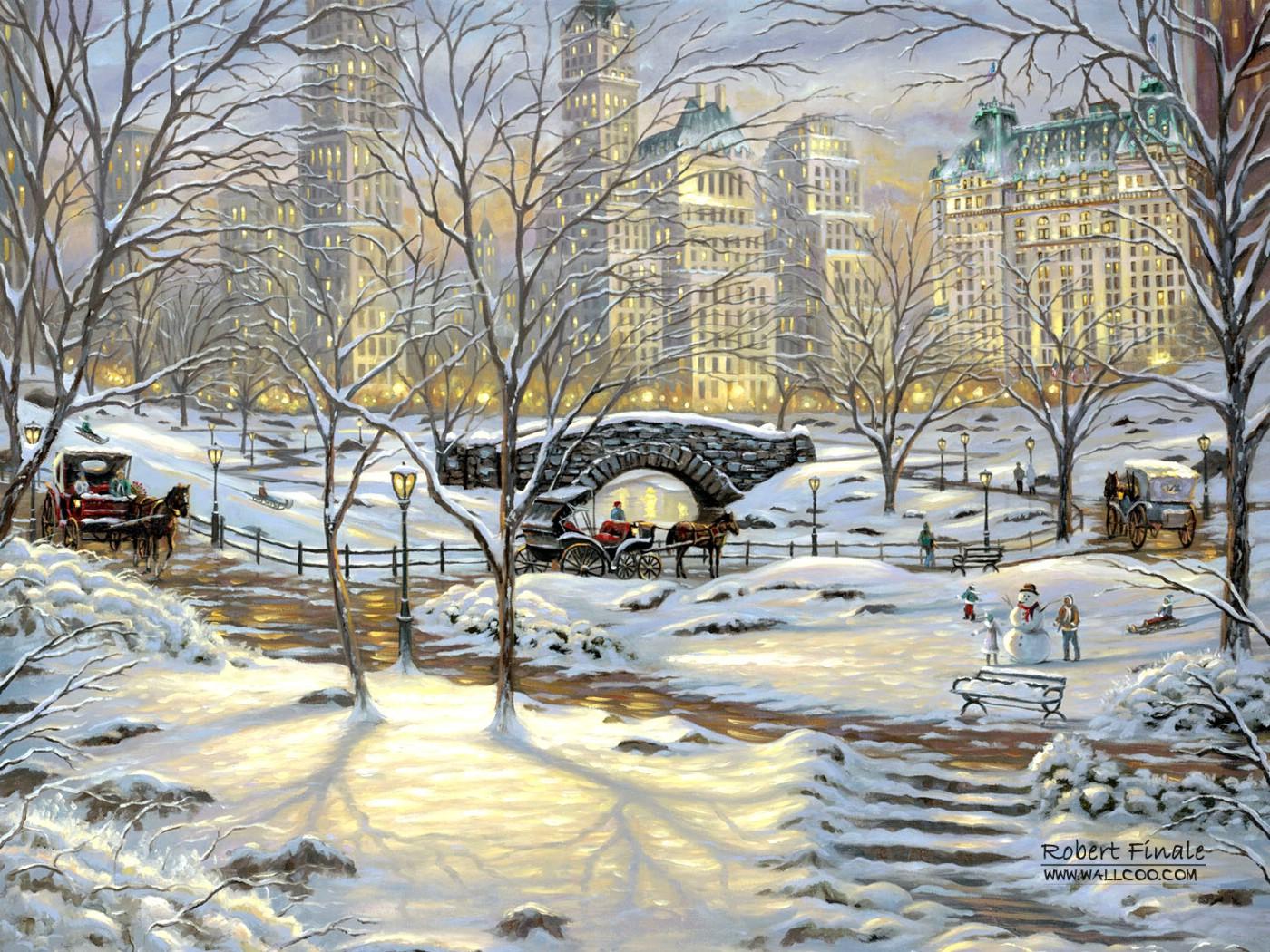 冬天的景色繪畫圖片_冬天的圖片景色大圖_冬天景片大全