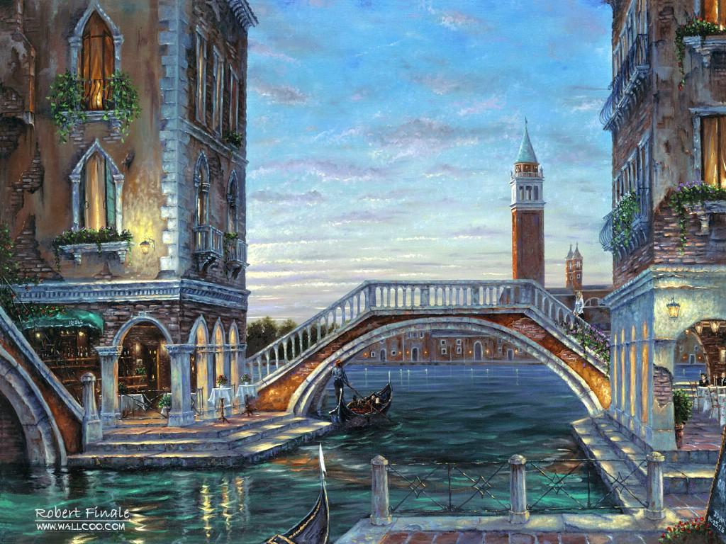 威尼斯浪漫风景油画壁纸