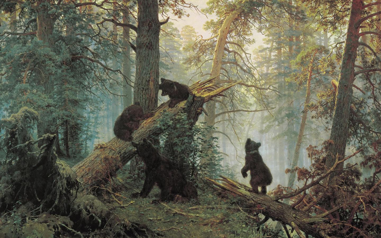 壁纸欣赏 fine art painting shishkin ivan morning in a pine forest