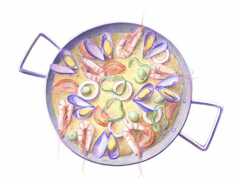 手绘美食壁纸食物彩色铅笔画一壁纸图片绘画壁纸绘画