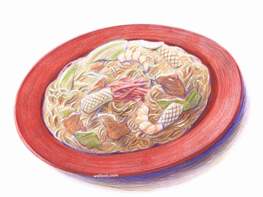 手绘美食壁纸食物彩色铅笔画桌面二壁纸图片绘画壁
