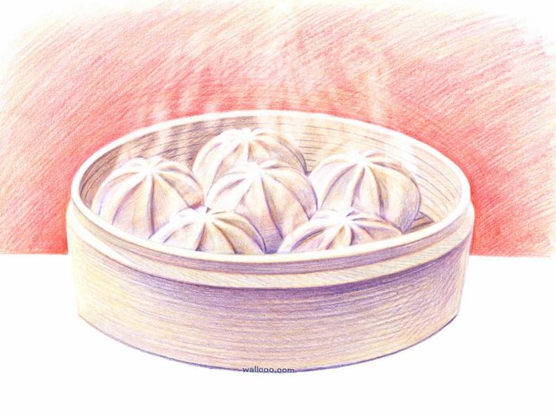 手绘美食壁纸食物彩色铅笔画桌面二壁纸图片绘画壁纸