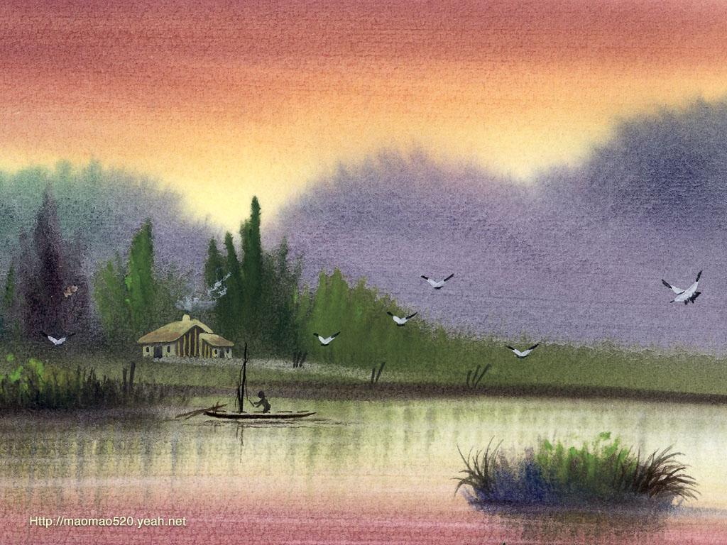 水彩笔风景画图片_水彩画_水彩画技法_手绘动漫人物水彩画 - 7262图片网