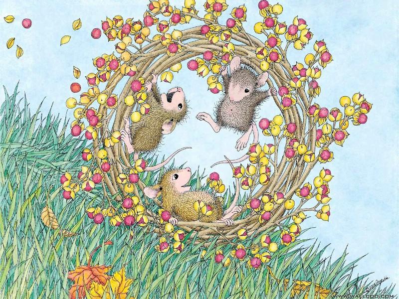 壁纸800×600可爱小老鼠插画壁纸壁纸,鼠鼠一家-温馨小老鼠插画壁纸