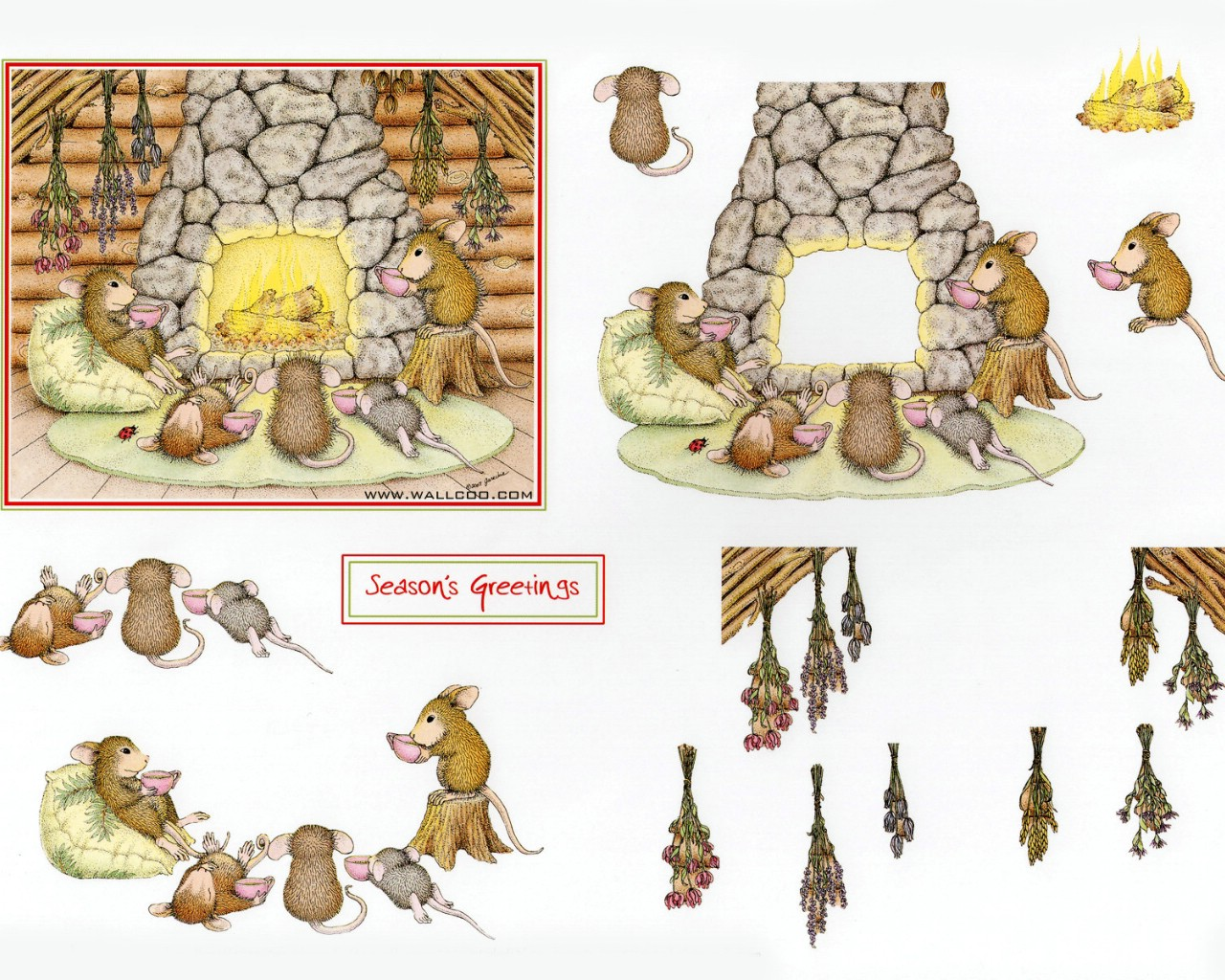 壁纸1280×1024温馨一家 可爱小老鼠插画原画壁纸,鼠鼠一家-温馨小