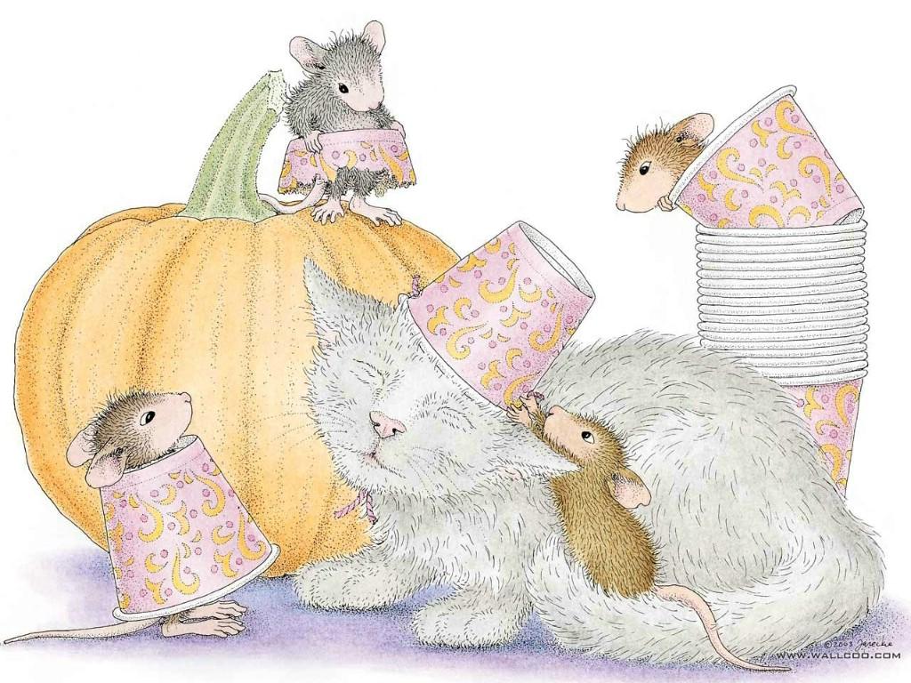 壁纸1024×768万圣节的可爱小老鼠插画壁纸壁纸,鼠鼠一家-温馨小老鼠