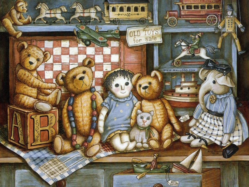 泰迪熊玩具手绘壁纸壁纸