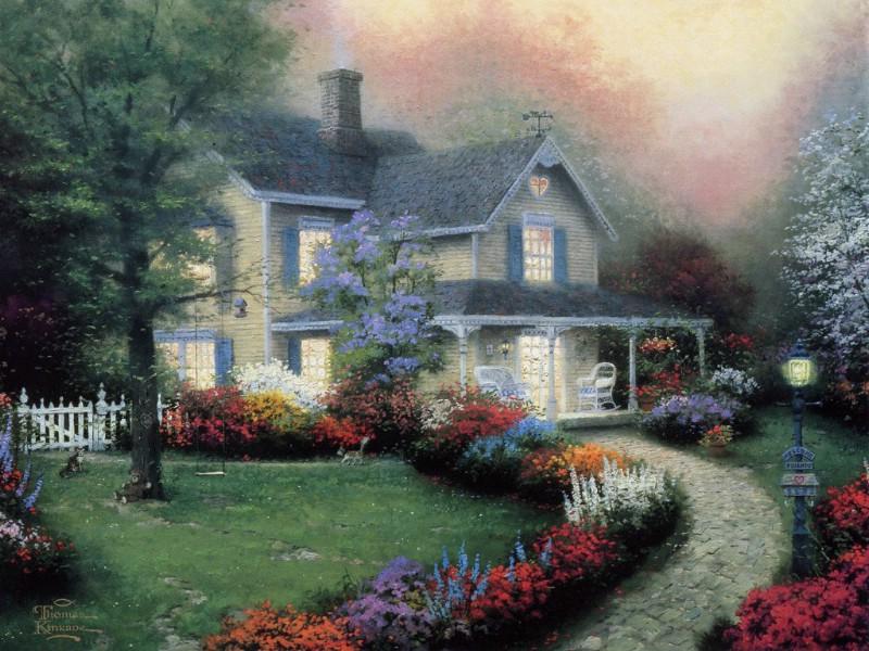 美国田园风景油画壁纸壁纸