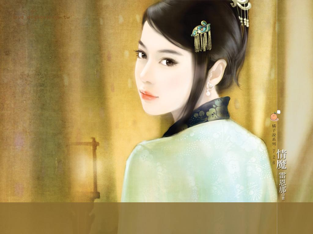 绿衣古装美女图片手绘