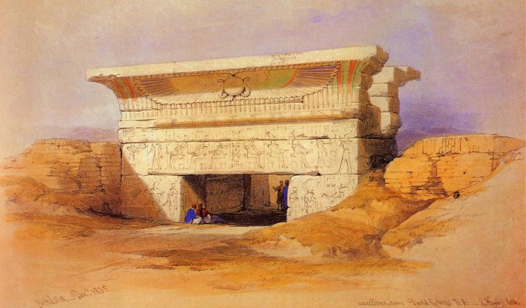 壁纸1024×600重现壮美的古文明 David Roberts 古埃及绘画壁纸集续 丹达腊 哈索尔神庙 Temple Of Hathor Dendera壁纸 重现壮美的古文明David Roberts 古埃及绘画壁纸集续壁纸图片绘画壁纸绘画图片素材桌面壁纸