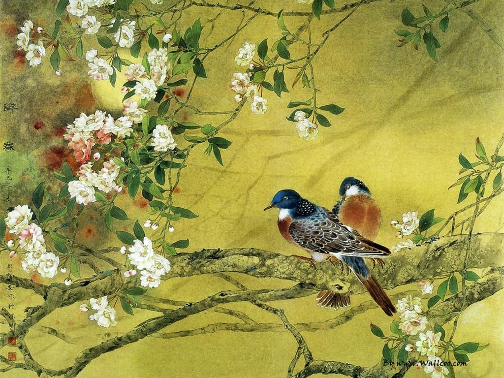 壁纸1024×768邹传安工笔花鸟集图片壁纸