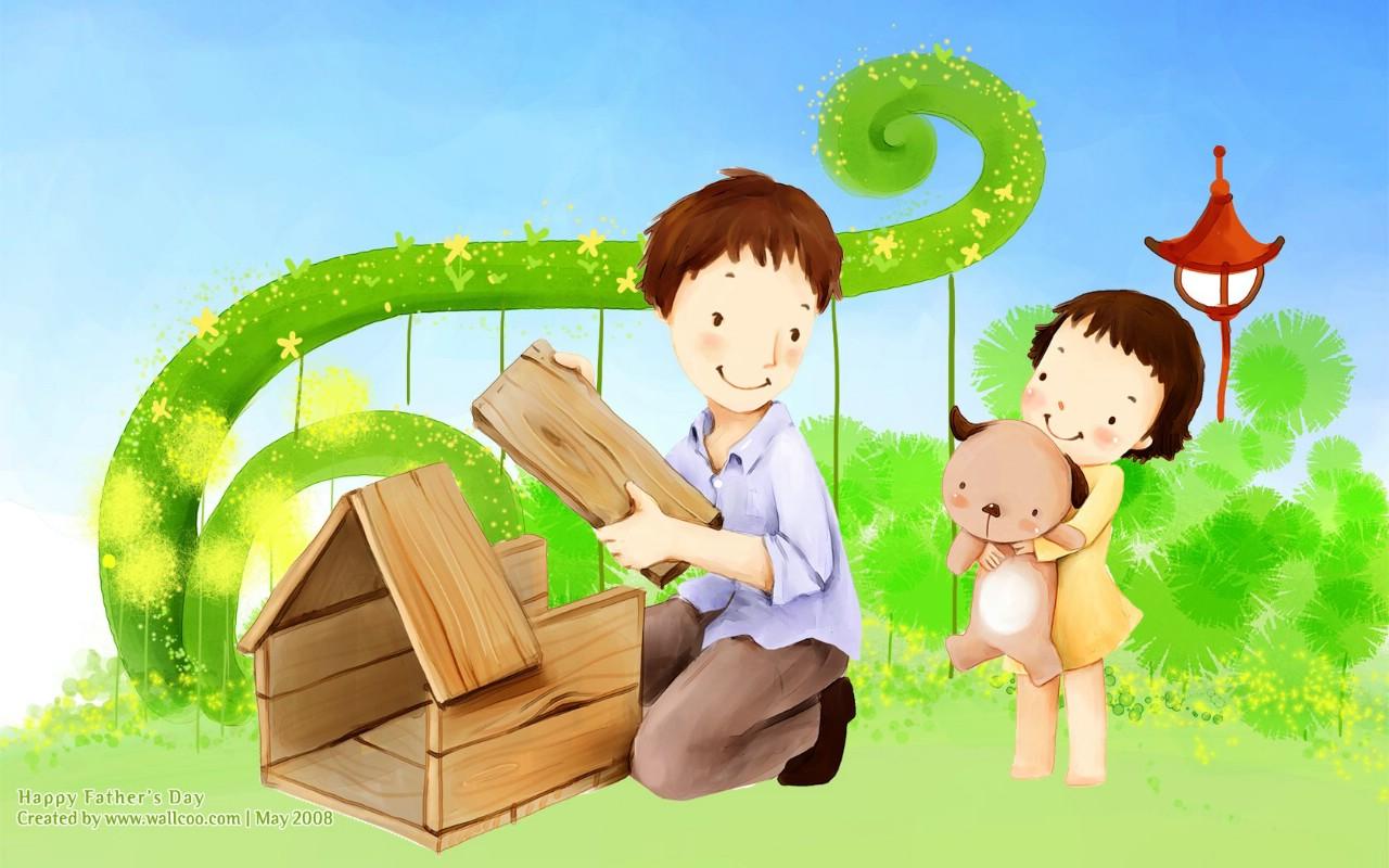 父亲节主题卡通插画壁纸壁纸图片-节日壁纸-节日图片素材-桌面壁纸