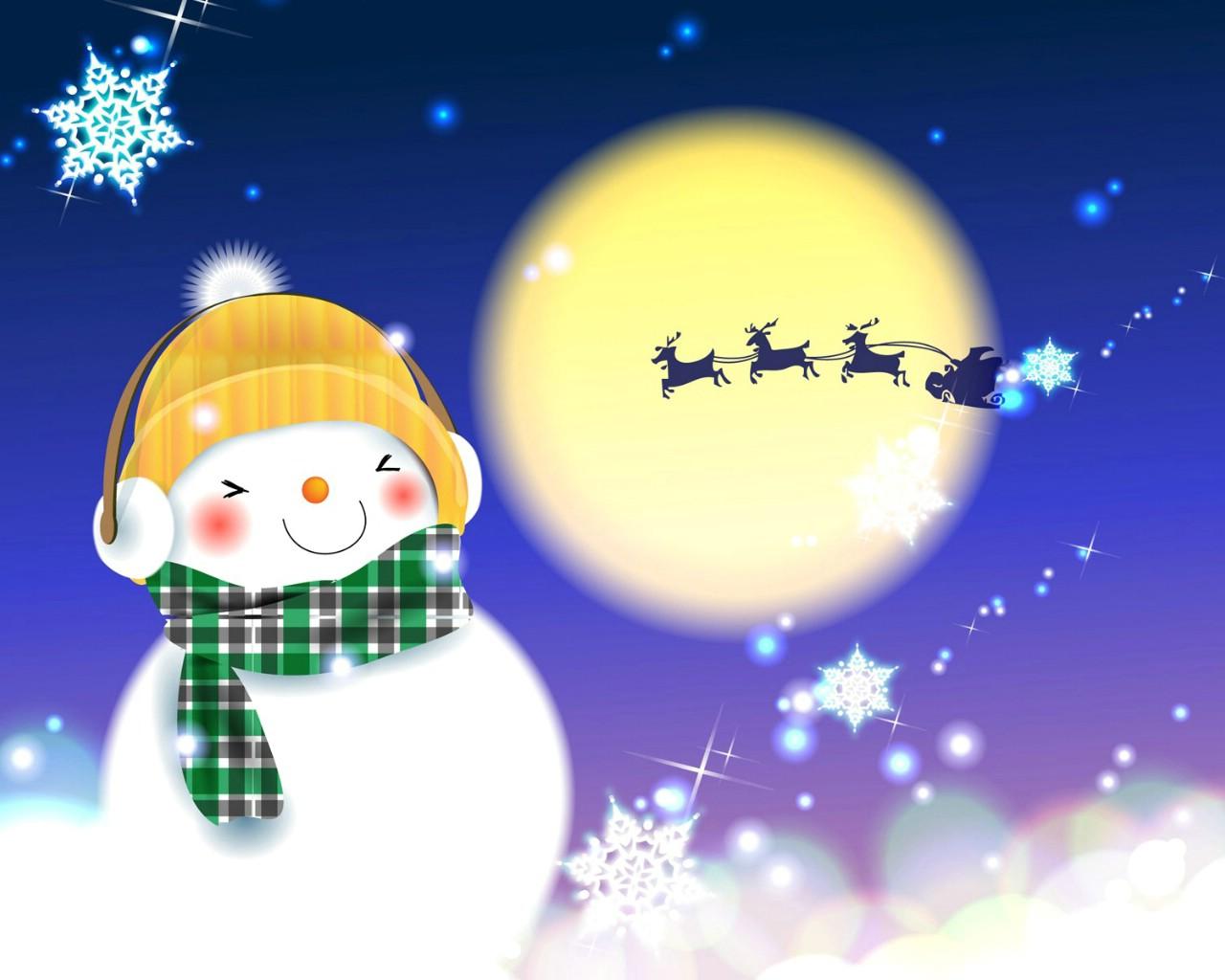 圣诞节- 可爱雪人图片壁纸_乐乐简笔画