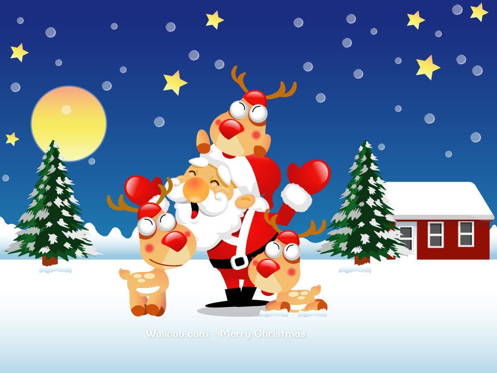 壁纸1024×768圣诞老人与驯鹿 Christmas Vector Art Santa Claus ...