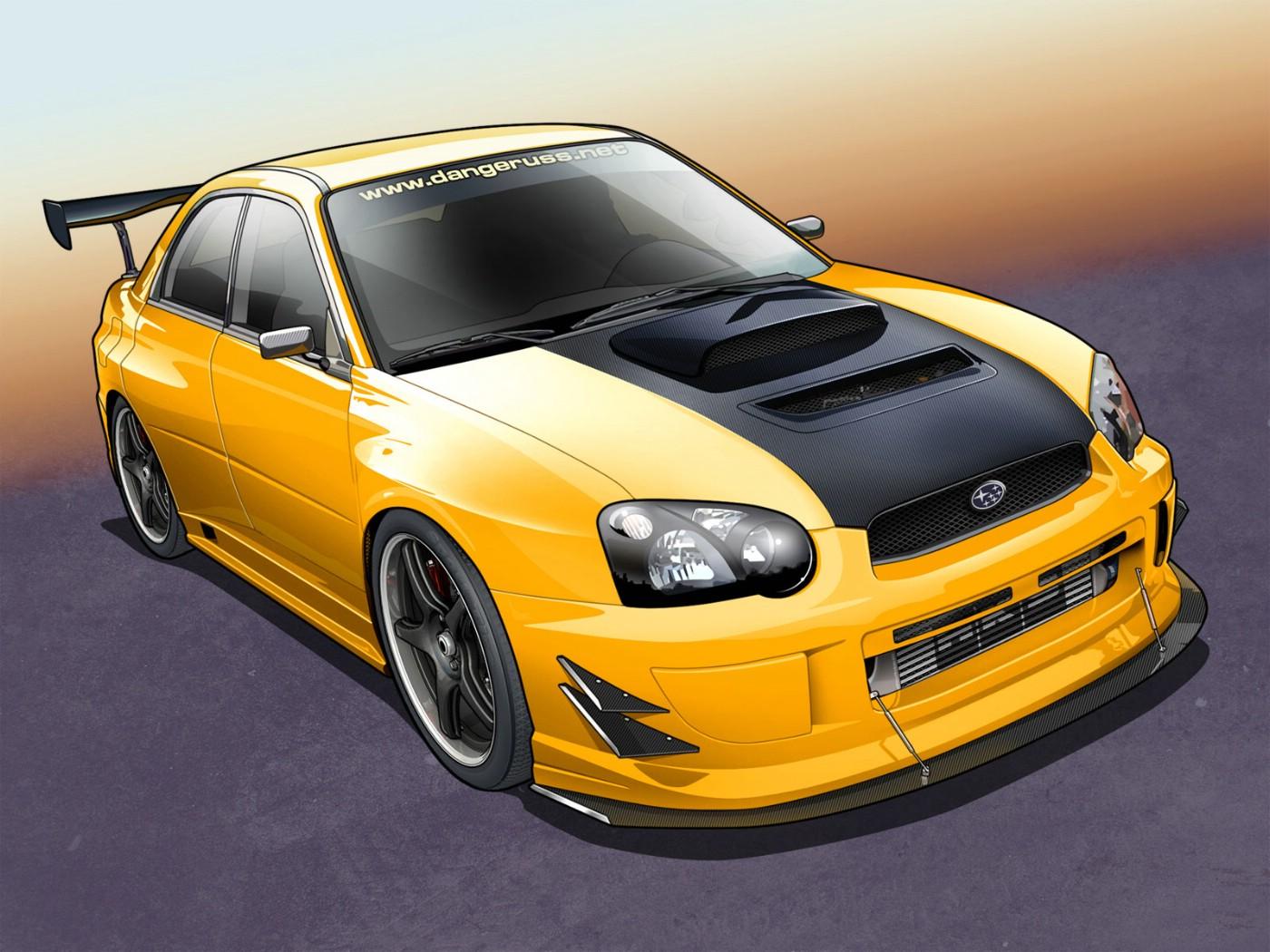 足球改单软件 电脑手绘汽车yellow subaru wrx 高清图片