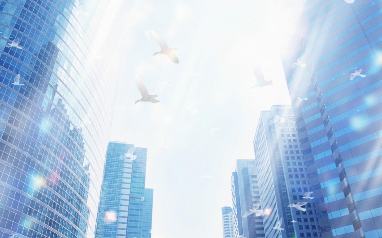 环保主题设计壁纸 城市天空 城市环保概念ps设计壁纸