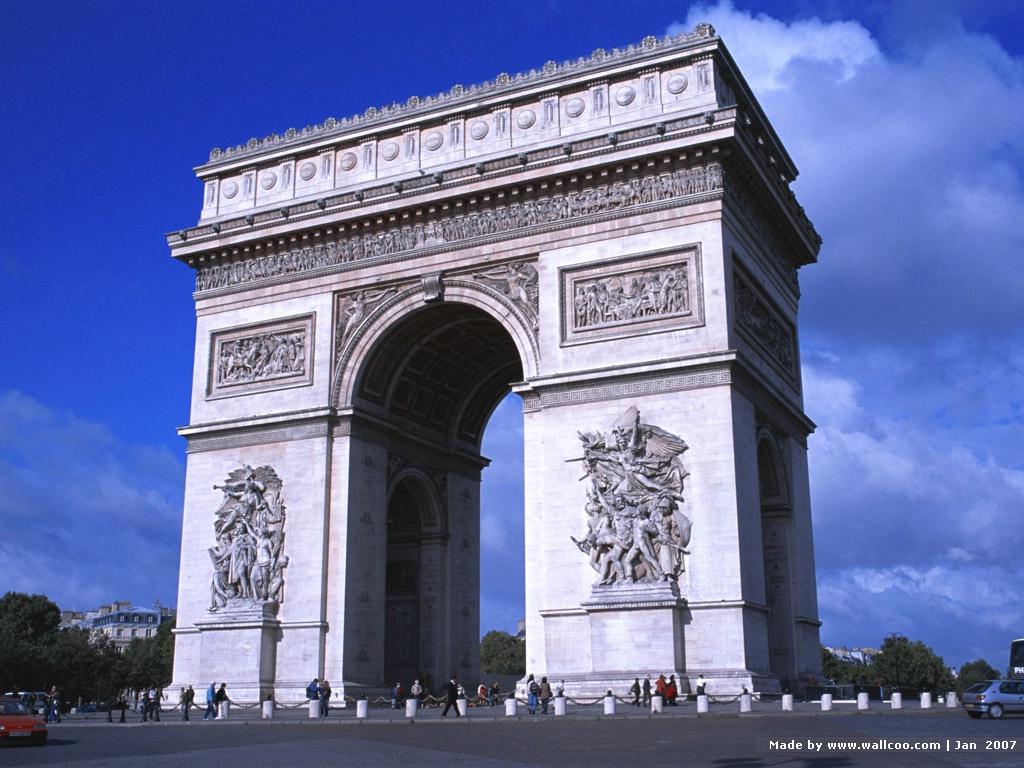 壁纸1024×768法国风情画 50张 法国凯旋门图片france
