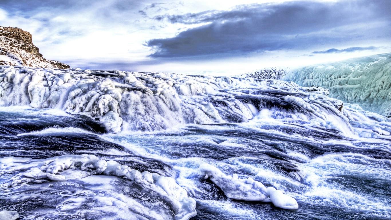 壁纸1366×768冰岛的冰川河流