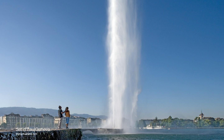 壁纸 日内瓦/世界公园瑞士夏季旅游名胜Jet d Eau Geneva 全世界最高的喷泉...