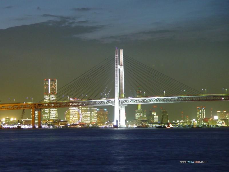 壁纸800×600美丽东京湾彩虹大桥 夜色下的彩虹桥 Japan Travel Japan Tokyo Rainbow Bridge壁纸 夜色下的东京彩虹桥壁纸图片人文壁纸人文图片素材桌面壁纸